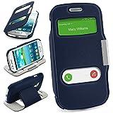 Bolso OneFlow para funda Samsung Galaxy S3 Mini Cubierta con ventana | Estuche Flip Case Funda móvil plegable | Bolso móvil funda protectora accesorios móvil protección paragolpes en ROYAL-BLUE