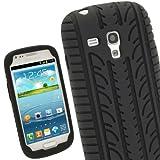 igadgitz Negro Case Neumático Tyre Silicona Funda Cover Carcasa para Samsung Galaxy S3 III Mini I8190 Android Smartphone teléfono móvil + Protector de pantalla