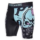 Pride or Die Vale Tudo Pantalones Cortos Z-campo - MMA BJJ Compresión Grappling Gimnasia Short - negro/verde, L