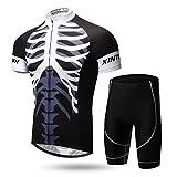 gwell Hombre–Rueda equipación de bicicleta camiseta manga corta + pantalones con asiento acolchado, color  - A, tamaño xxx-large