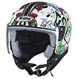 Casco de moto jet niño SHIRO SH-20 Comics KIDS-, color blanco, (blanco), YL