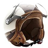 SOXON SP-325-URBAN Creme Bobber Casco Demi-Jet Vespa Vintage Piloto Cruiser Urban Biker Scooter Helmet Chopper Retro Mofa Urbano Moto Motocicleta, ECE Certificado, Diseño de Cuero, Incluyendo Parasol...