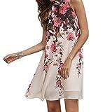 vestidos de mujer,Switchali mujer VeranoCorto mini Vestidos Casual flor Cuello redondoSin mangas Vestido moda gasa ropa para mujer (Asiático Tamaño:Small, Blanco)