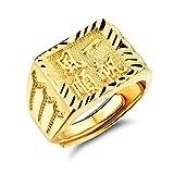 """OPK joyas anillo grabado con caracteres chinos, chapado en oro de 18 ct, para Hombre, significado """"buena suerte contigo"""", tamaño ajustable"""