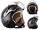 SOXON SP-325-PLUS Titanium Ace Vespa Casco Demi-Jet Helmet Biker Urbano Mofa Cruiser Urban Bobber Scooter Vintage Moto Motocicleta Retro Piloto Chopper, ECE Certificado, Incluyendo Bolsa de Casco, Gri...