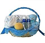 Cesta recien nacido - Hora del baño basica azul - Canastilla regalo bebe