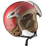 SOXON SP-325-MONO Red · Mofa Retro Scooter Biker Vintage Moto motocicleta Urban Urbano Casco Demi-Jet Piloto Cruiser Vespa Helmet Bobber Chopper · ECE certificado · visera incluido · incluyendo bo...
