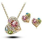 La Vivacita® 18 quilates se elevó Acabado de oro juego de joyas de la chispa del corazón con cristales Swarovski de regalo de alta calidad para las mujeres