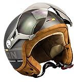 SOXON SP-325-PLUS Titanium Vespa Casco Demi-Jet Helmet Biker Urbano Mofa Cruiser Urban Bobber Scooter Vintage Moto Motocicleta Retro Piloto Chopper, ECE Certificado, Incluyendo Bolsa de Casco, Gris (T...