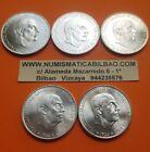 5 monedas x 100 PESETAS 1966 * 66 67 68 70 + 69 PALO RECTO 100% AUTENTICA PLATA