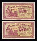 F.C. ASTURIAS Y LEON , PAREJA CORRELATIVA 1 PESETA 1936 , EBC+ .