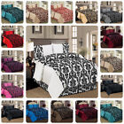 New Luxury 4PC Damask Flock Complete Bedding Duvet Cover Set Double & King Size