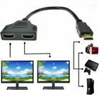 HDMI Male to 2x HDMI Double Female Y Splitter Adapter Cable Lead HD TV 32.5CM