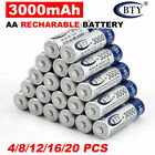 4-20x BTY AA/AAA Rechargeable Battery Recharge Batteries 1.2V 3000/1000mAh Ni-MH