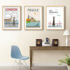 London New York Cityscape Vintage Poster Landscape Canvas Wall Art Room Decor
