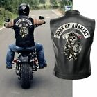 Sons of Anarchy Vest Motorcycle Club Sleeveless Faux Leather Harley Biker Jacket