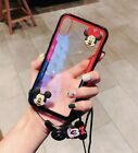 Cute Hello Kitty Mickey Minnie Doll Strap Case Cover for Samsung S10+ S9+ Note 9