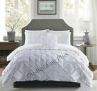 Silver Pinch Pleats Pintuck Duvet Cover Bedding Set Double King Size Quilt Cover