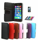Leather Wallet Cover Case For iPhone 5 5S + Screen Protector + Stylus Pen