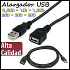 CABLE ALARGADOR USB macho - hembra 0,5 / 1 / 1,5 / 2 / 3 / 5 metros - EXTENSION