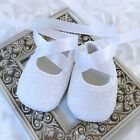 Baby Girl White Lace Satin Christening Baptism Shoes