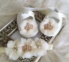 Baby Girl Ivory Christening Baptism Shoes Chiffon Flowers Silver Crown Set