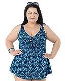 Niseng Mujer Tankini Bañadores Talla Grande Conjuntos De Falda Y Pantalones Cortos Azul 8XL
