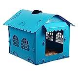Puede desmontar el dinero-criadero de perros pequeños suministros de mascotas dog house verano caniche bichón fris pomeranin plástico PET Océ gatos Wo Wo House, Azul 38*45*41cm.