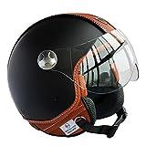 Peda Diseño Italiano (Moca B) ECE punto del estilo del cuero de la motocicleta del casco de la vendimia para Vespa, unisex abierta de la cara ITALIA Jet Sport Urban Cascos Capacete, Medio casco (L (5...