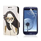 Funda imitación cuero para For Samsung Galaxy S3 Mini i8190 + Protector PC444