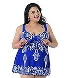 Niseng Mujer Trajes De Baño Ropa Tallas Grandes Una Pieza Falda Y Pantalones Cortos Conjuntos Azul Zafiro 7XL