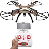 BEETEST Syma X8HW 2.4G 4 canal 6 eje giro WiFi FPV transmisión en tiempo real RC Drone Quadcopter avión juguetes helicóptero modelo con luz LED y 0.3MP cámara HD