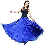 falda larga mujer Sannysis Cintura larga camiseta maxi faldas (Azul)