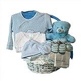 Canastilla regalo bebe - Primera Puesta Optima azul - Cesta recién nacido hospital