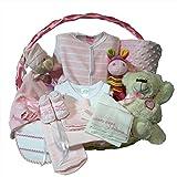 Canastilla bebe recien nacido - Esencial Delux rosa - Cesta regalo recien nacido